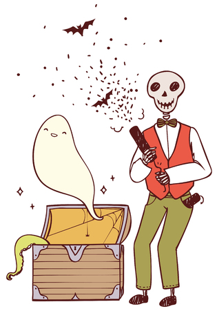 party poppers: skeleton with party poppers and a ghost from the chest Illustration
