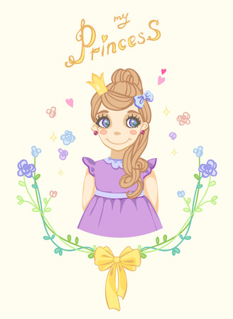crown tail: Princess girl in floral frame with crown Illustration