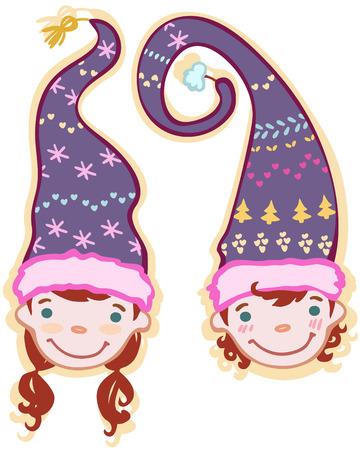 gnomos: dos cabezas de ni�os gnomos en may�sculas Vectores