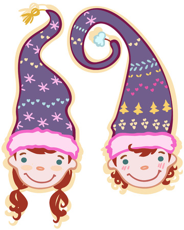 two heads: two heads of children gnomes  in caps Illustration