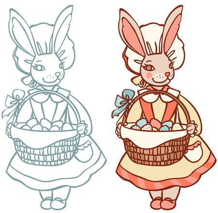 bonnet illustration: bunny with a basket of Easter eggs