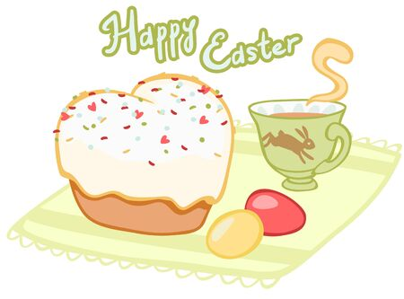 sprinkling: Easter tea with cupcake and painted eggs