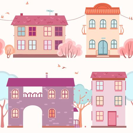 pink bushes: seamless pattern of the houses and trees Illustration