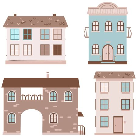 multistory: Set of four multistory houses