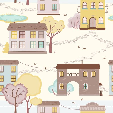lake district: seamless pattern with houses, paths, trees.