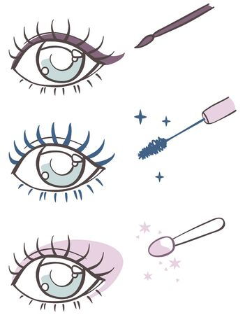 yeux maquill�: bande dessin�e maquillage des yeux: eye-liner, mascara, ombre � paupi�res.