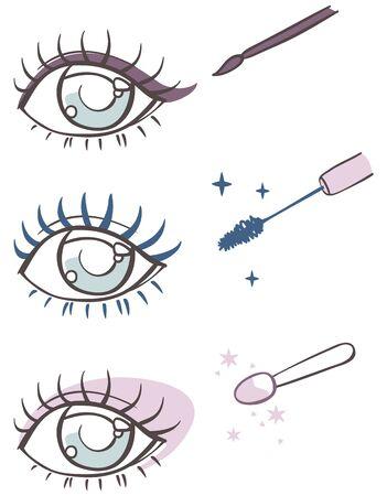 applicator: cartoon eye makeup: eyeliner, mascara, eye shadow. Illustration