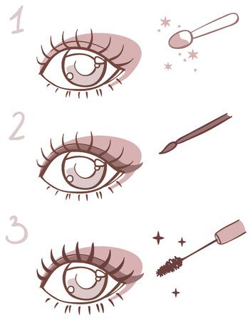 yeux maquill�: s�quence de maquillage stades de l'?il.