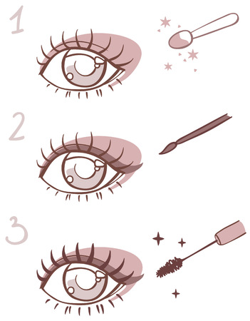 pensil: sequence of  stages eye makeup.