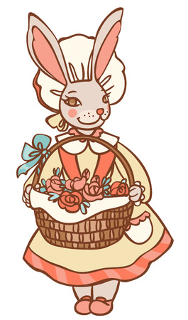bunny with basket of flowers Vector