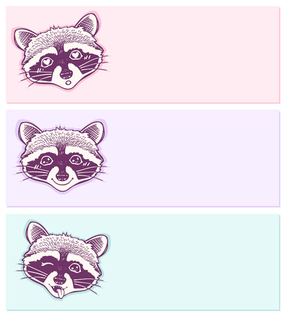 raccoons: pastel stickers with funny raccoons.