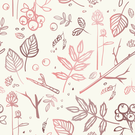 bumps: seamless pattern with leaves, branches, berries, bumps, seeds.