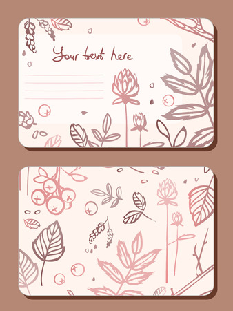 a sprig: Card with a sprig of leaves elements forest. Illustration