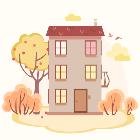 residential houses: autumn cartoon story house with trees .