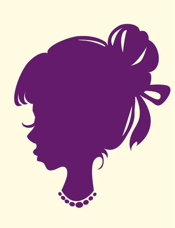 cabeza femenina: silueta de una cabeza femenina con el haz de pelo y collar