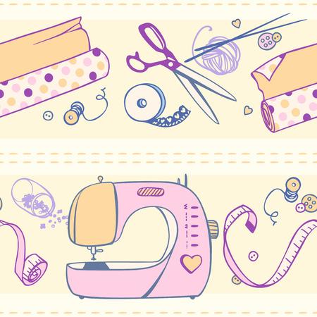 Set Elemente Für Das Nähen Und Handwerk. Nähmaschine, Faden, Stoff ...