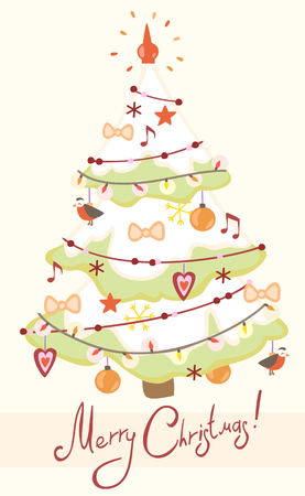 decorated christmas tree: Card with decorated Christmas tree. Illustration