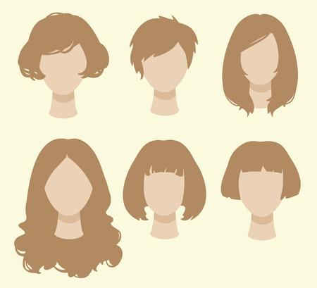 siluetas mujeres: Conjunto de peinados femeninos.