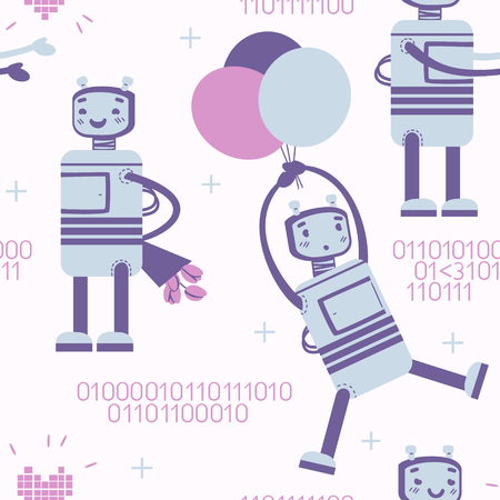 amorousness: seamless pattern with cute robot in love