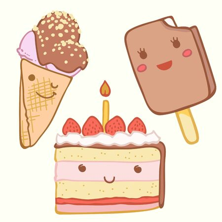 smile face: cute cake, ice cream with faces