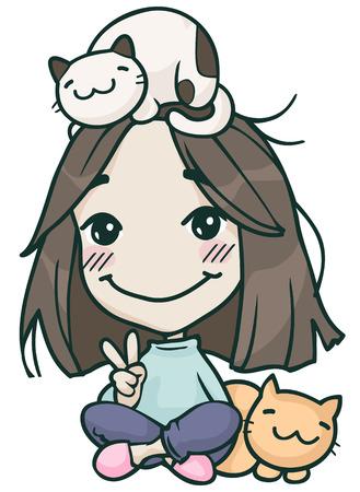 smile hikikomori cute girl with cats