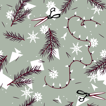 winter festive pattern with spruce branches and paper snowflakes Иллюстрация