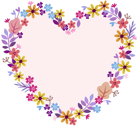 heart of meadow flowers pastel shades yellow orange lavender purple 일러스트