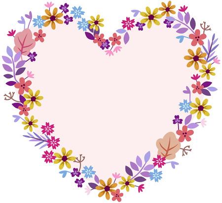 heart of meadow flowers pastel shades yellow orange lavender purple Illustration