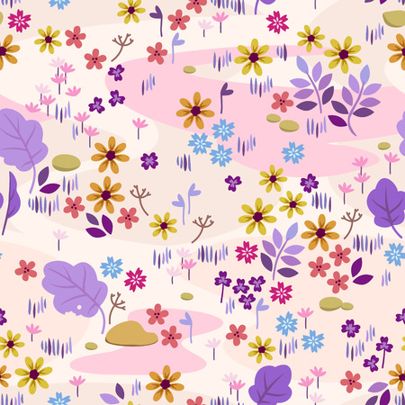 seamless pattern with meadow flowers and waves