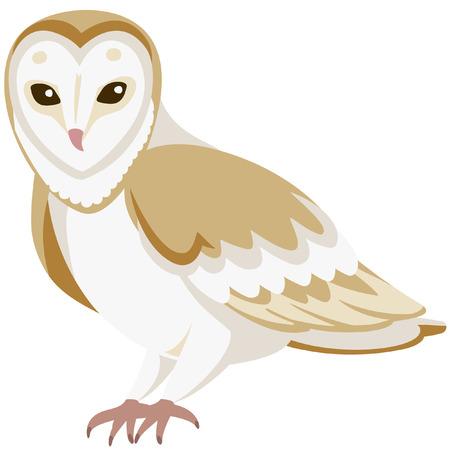 vector cartoon barn owl sitting quietly  イラスト・ベクター素材