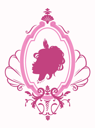 silhouette of a beautiful girl princess in a frame in rococo style