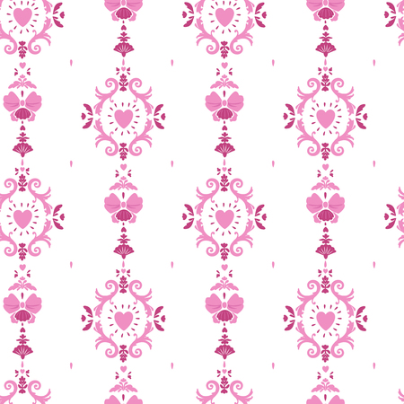 pink seamless girlish pattern with rococo style curls and hearts