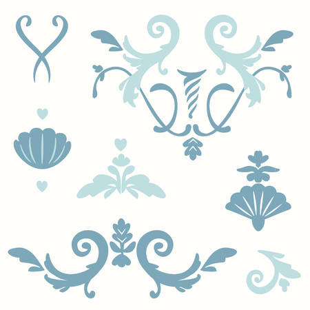 set of stylized simplified elements of rococo style curls, plant, seashells