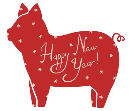New Year Vector Cute Stylized Picture of Pig Symbol of the Year