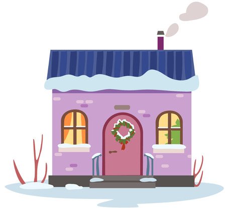 Cartoon winter house in Christmas from the street