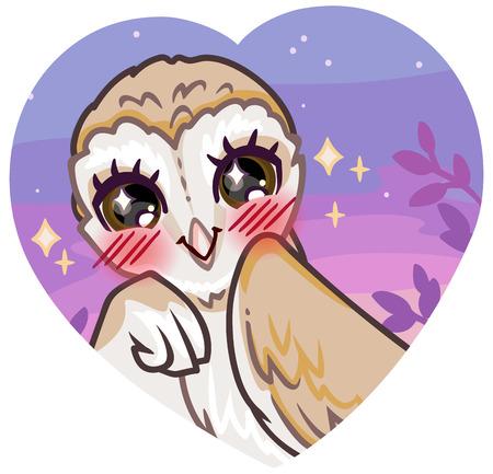A cute cartoon owl of a barn owl smiles reddened, embarrassed.
