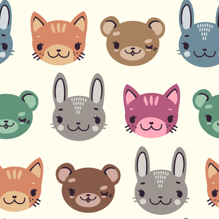 kids cute seamless pattern with heads of smiling animals soft colors Illustration