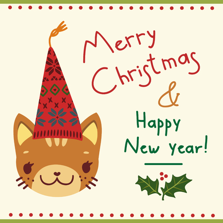 simple greeting card with a cat in a Christmas hat