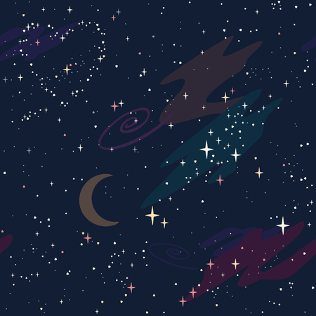 vector pattern with a starry sky constellation heart, moon, nebulae