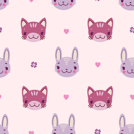 Cute childish seamless pattern with bunnies and kittens in pink colors. Illustration