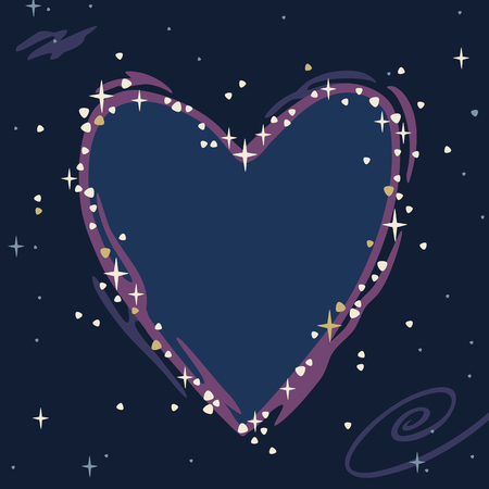 vector illustration of a magical starry sky with the constellation of the heart Illustration