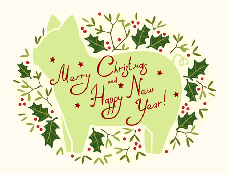 Happy New Year and Merry Christmas greeting card with the silhouette of a pig in the sprigs of mistletoe and holly Иллюстрация