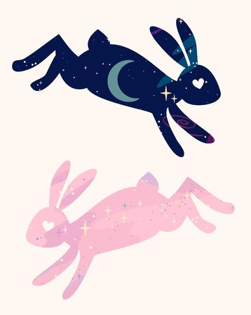 Cute vector magical fabulous bunnies are jumping. star space silhouette.