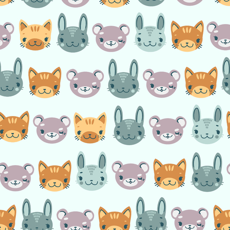 kids cute seamless pattern with heads of smiling animals bear hare kitten Stock Vector - 127093009