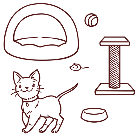 Cute cartoon kitten and accessories for him: a house, a scraper, a mouse, a bowl. Vector outline image. Ilustrace