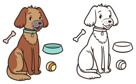 A friendly cartoon dog with a collar is sitting. contour and colorized. Illustration