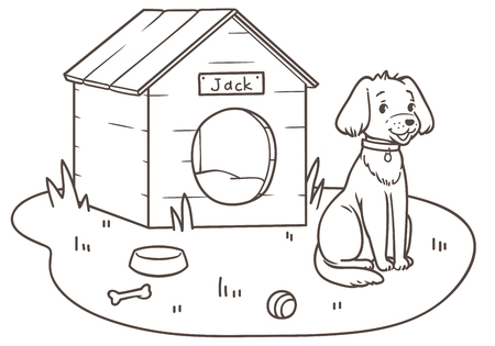 Outline drawing of a friendly dog cartoon near his kennel an lawn