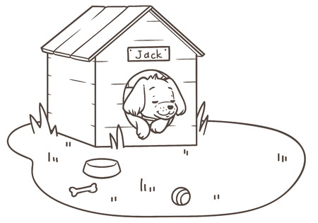 Outline drawing of a friendly dog sleeping in its kennel an lawn Illustration