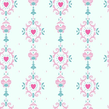 seamless girlish pattern with rococo style curls and hearts