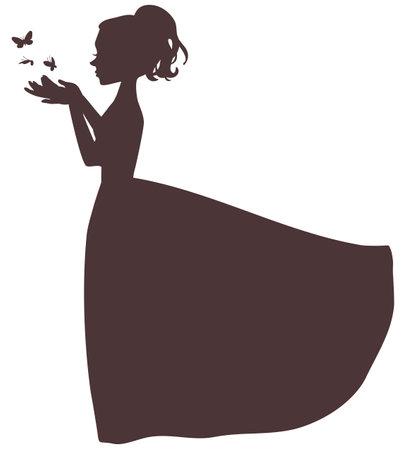 Vecton cartoon silhouette of an elegant girl in a long puffy dress releasing butterflies